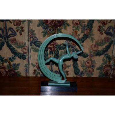 """Sculpture  d'époque Art Deco """"danseuse a l écharpe""""  par JANLE"""