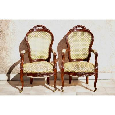Pair Of Armchairs In Mahogany Middle Nineteenth Century