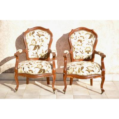 Pair Of Armchairs In Mahogany 19th Century