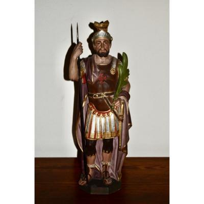 Sculpture  De Saint Maurice En Terre Cuite Polychrome XIXeme Siècle
