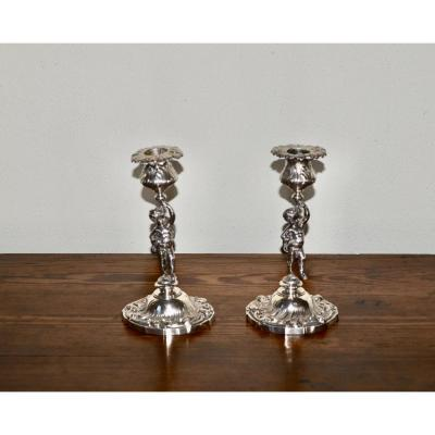 Pair Of Candlesticks With Putti Sterling Silver 19th Century