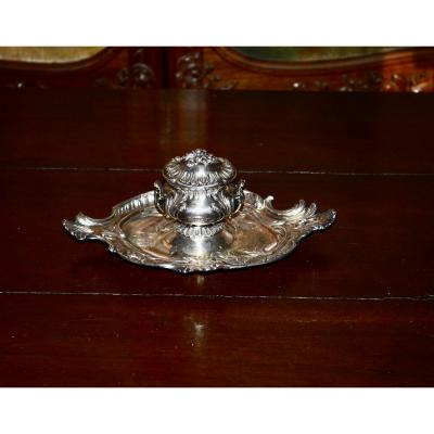 Inkwell In Sterling Silver Late 19th Century
