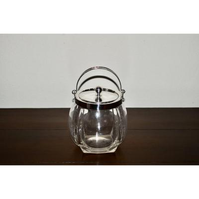 Ice Bucket In Sterling Silver And Crystal