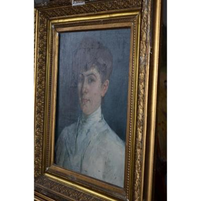 Portrait Signed Marius Roux Renard Early 20th Century