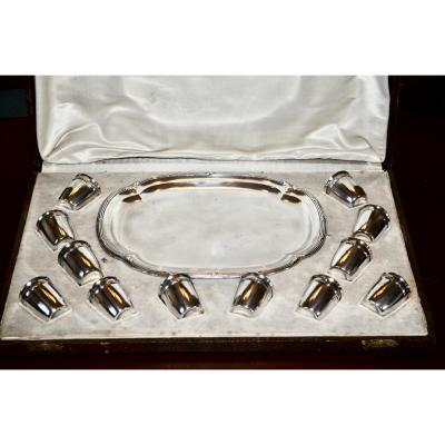 Service A Liqueur In Sterling Silver And Silver Metal Tray Louis XVI Style