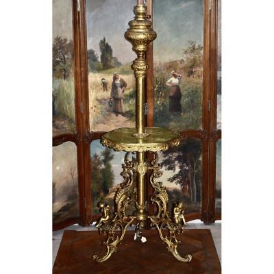 """Lampadaire En Bronze Doré aux """"putti"""" d'époque Napoléon III"""