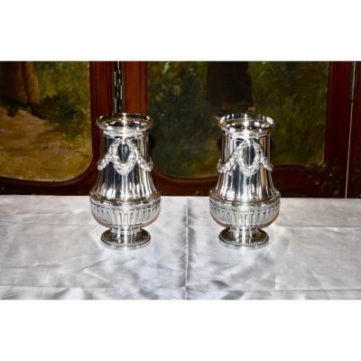 Paire De Vases En Argent Massif Par  Bointaburet Fin 19eme Siècle