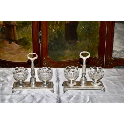 Pair Of Double Salerons In Sterling Silver Early 19th Century