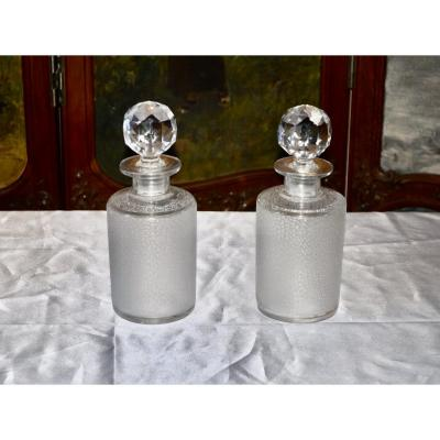 Pair Of Crystal Flasks St Louis Debut 20th Century