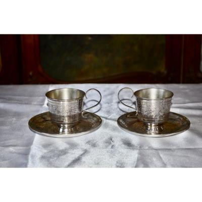 Pair Of Russian Sterling Silver Cups Late 19th Century