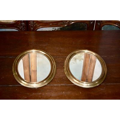 Pair Of Mirror In Golden Brass XIXth Century