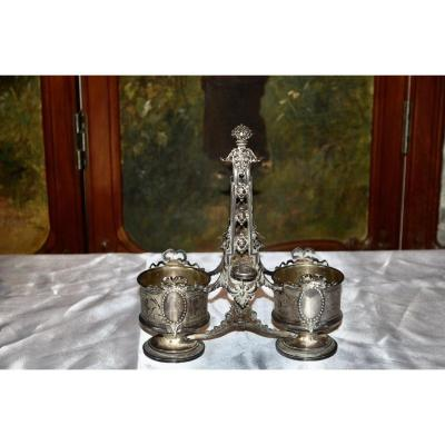 Oil Cruet / Vinegar Holder In Sterling Silver Napoleon III