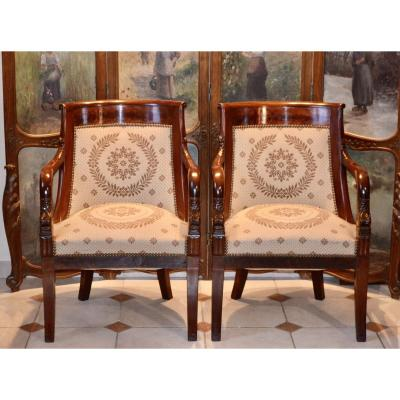 Pair Of Gondola Armchairs In Mahogany Empire Period