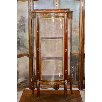 Curved Showcase In Mahogany Late 19th Century