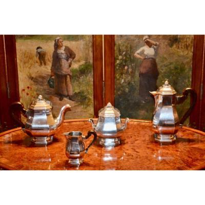 Tea / Coffee Service In Sterling Silver Art Deco Period