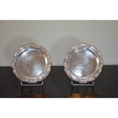 Pair Of Coasters In Sterling Silver By Victor Boivin