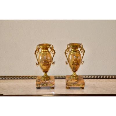Paire De Cassolettes En Marbre Jaune De Sienne Napoléon III