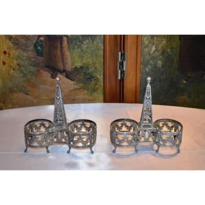 Pair Of Double Salerons In Sterling Silver 19th Century