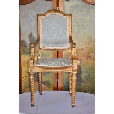 Chaise d'Enfant En Bois Doré 19eme Siècle de style louis XIV et louis XVI