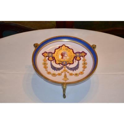 Coupe  En Porcelaine Et Bronze époque Art Nouveau