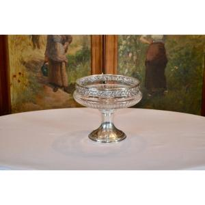 Large Fruit Bowl In Sterling Silver And Crystal 19th Century