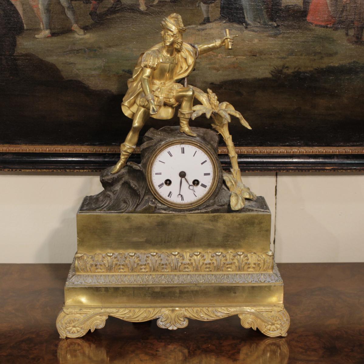 Ancien Montre Charles X En Bronze Doré