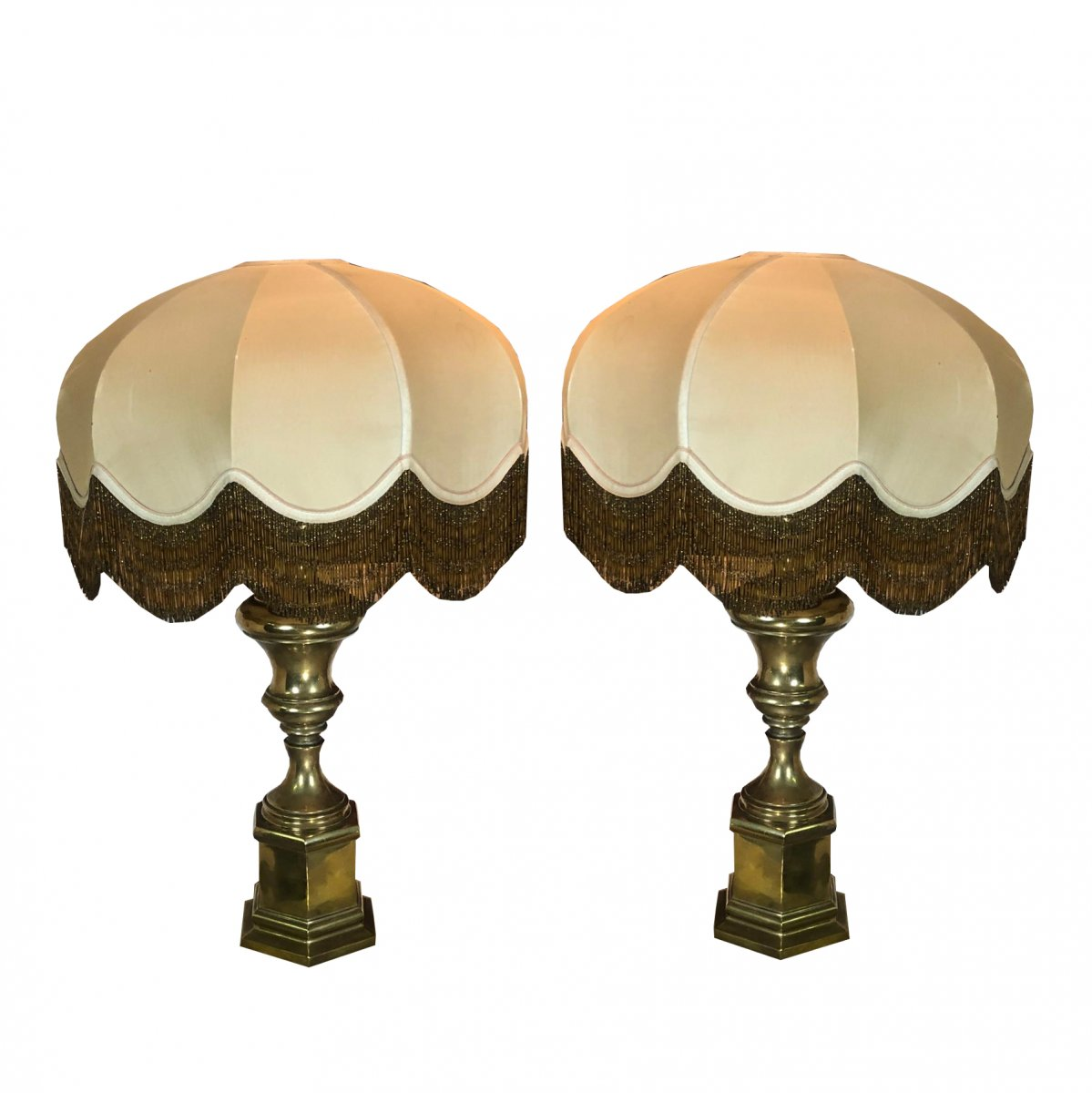 Pair Of 50's Vintage Italian Brass Table Lamp