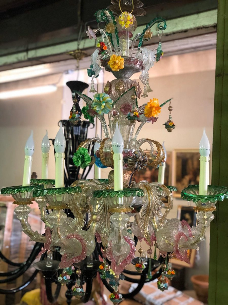Early-20th Century Large Murano Glass Chandelier