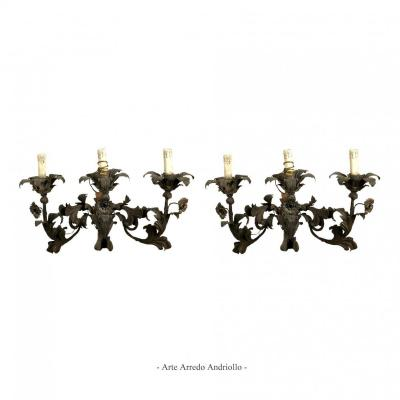 Pair Of  Venetian Wrought Iron Wall Sconces