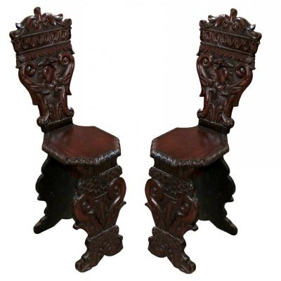 Pair Of 19th Solid Wood Italian Chairs