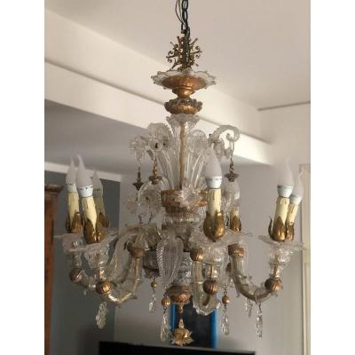 Mid-century Murano Art Glass Ceiling Lamp