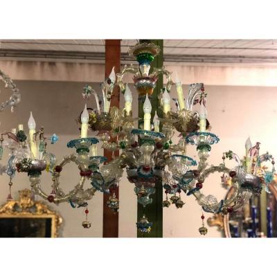Grand Lustre En Verre De Murano  20e siècle
