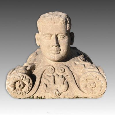 18th Century Italian Stone Sculpture Representing A Man's Head