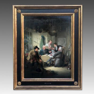 Henry Perlee Parker, Antique Painting Representing An Interior Scene