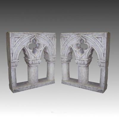 Pair Of Neogothic Windows In White Marble