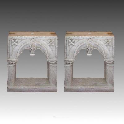 Pair Of Neogothic Marble Windows, Venice