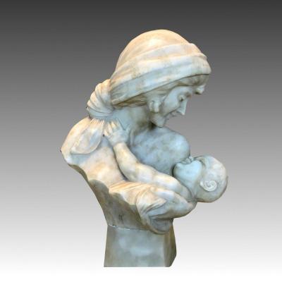 19th Italian School Buste Sculpture Thé Motherhood