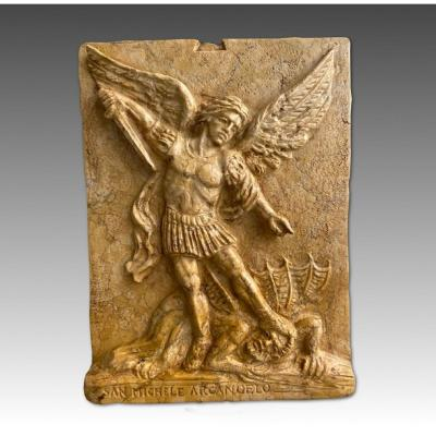 20th Marble Sculpture Representing The Archangel Michael