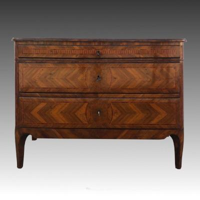 Italian Louis XVI Chest Of Drawers In Marquetry