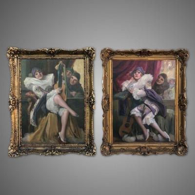 Antique Pair Of Painting By Richard Geiger
