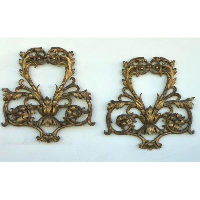 Pair Of  End-18th  Venetian Gilded Wood Friezes
