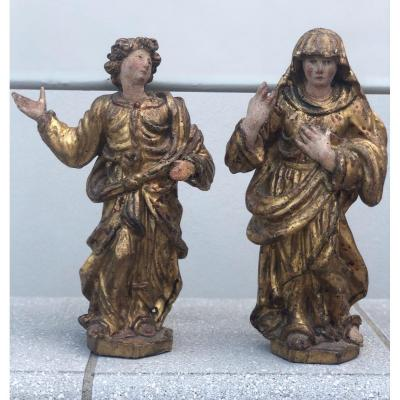 Pair Of Religious Sculptures In Gilded Wood