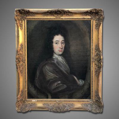 18th French Portrait Of Ayoung Aristocratic Man With Wig