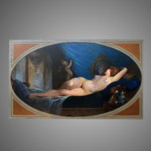 Painting By Jean Eritziane Reclining Female Nude