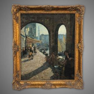 Antique Italian School Signed Painting By Angelo Brombo