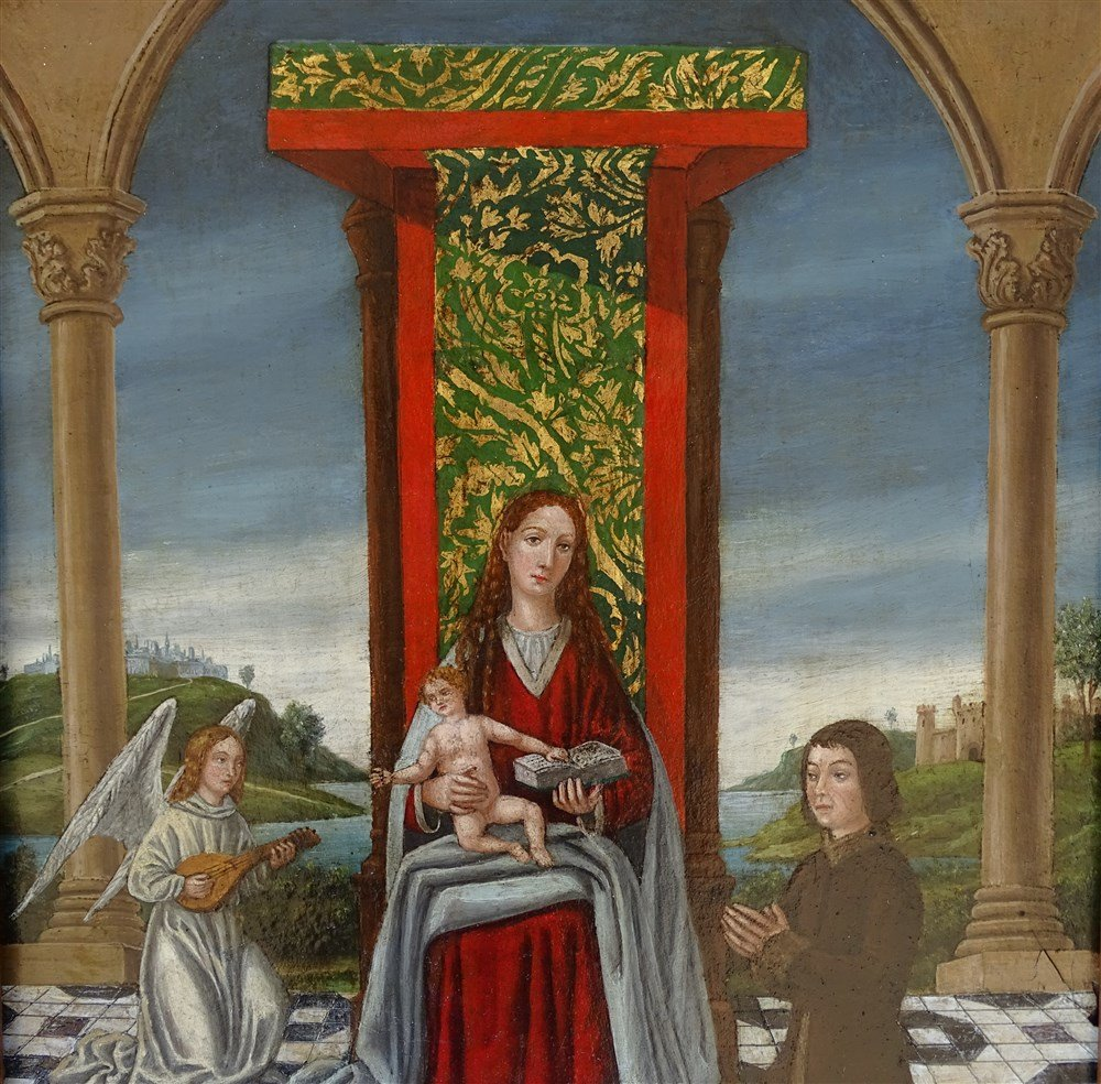 Oil on panel two unpainted boards,<br />