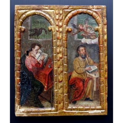 Saint John And Saint Matthew Exceptional Panel Painted 16th