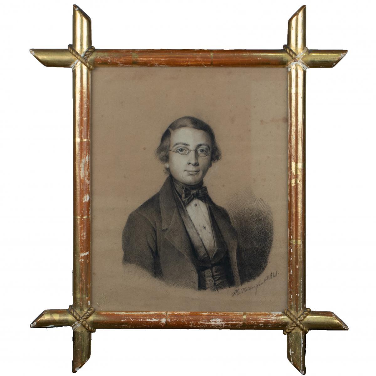 Drawing - Portrait Of Young Man - Jean-mathieu Nisen (francorchamps 1819 - Liege 1885)