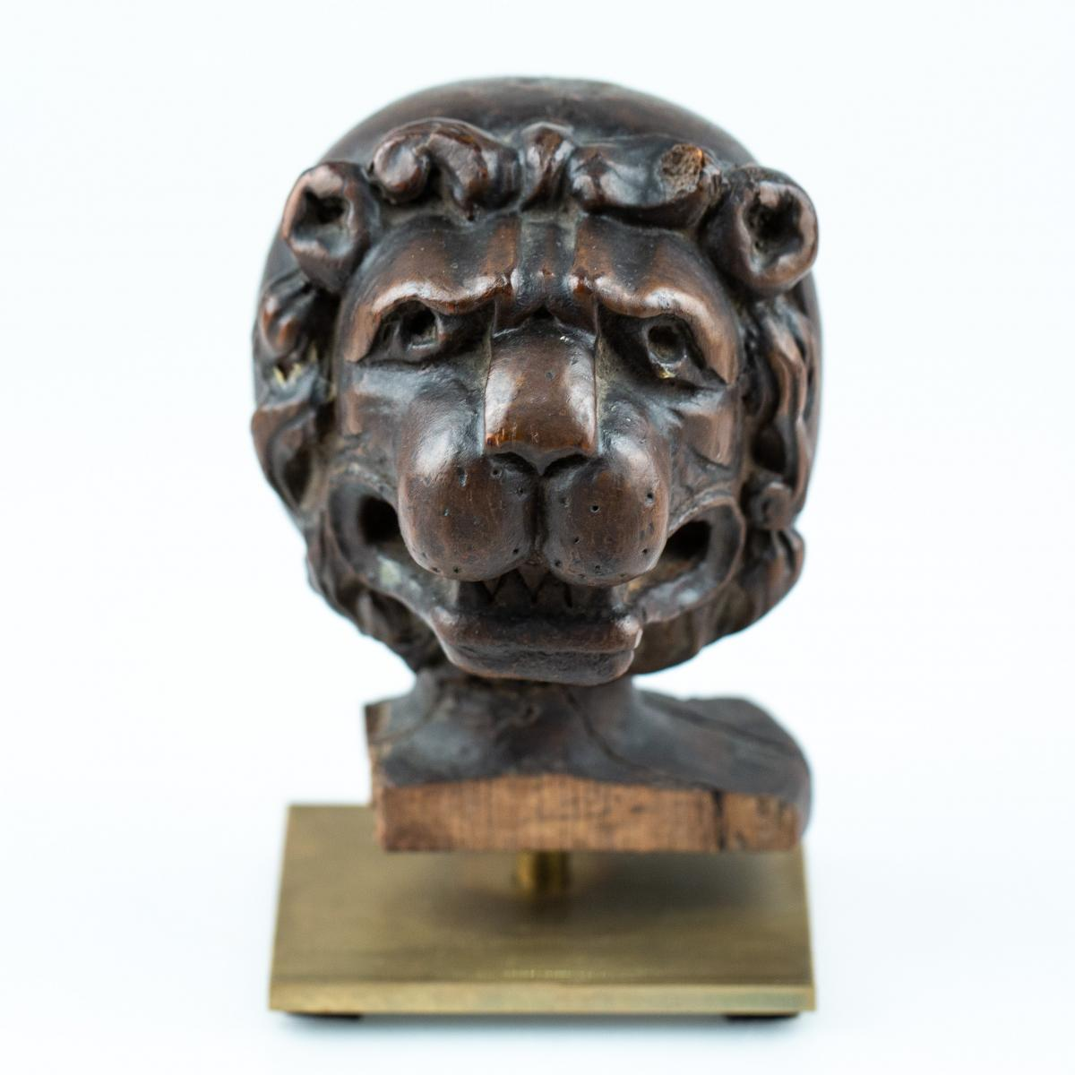 Lion Head - Carved Wood - 17th Century, Flanders?