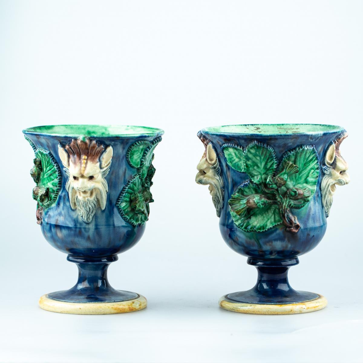 Pair Of Vase - Figulines Attr. To Thomas-victor Sergeant 19th Century